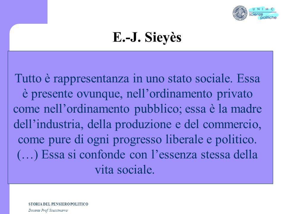 STORIA DEL PENSIERO POLITICO Docente Prof. Scuccimarra E.-J. Sieyès Tutto è rappresentanza in uno stato sociale. Essa è presente ovunque, nellordiname