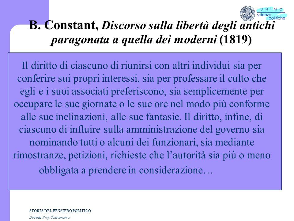 STORIA DEL PENSIERO POLITICO Docente Prof. Scuccimarra B. Constant, Discorso sulla libertà degli antichi paragonata a quella dei moderni (1819) Il dir