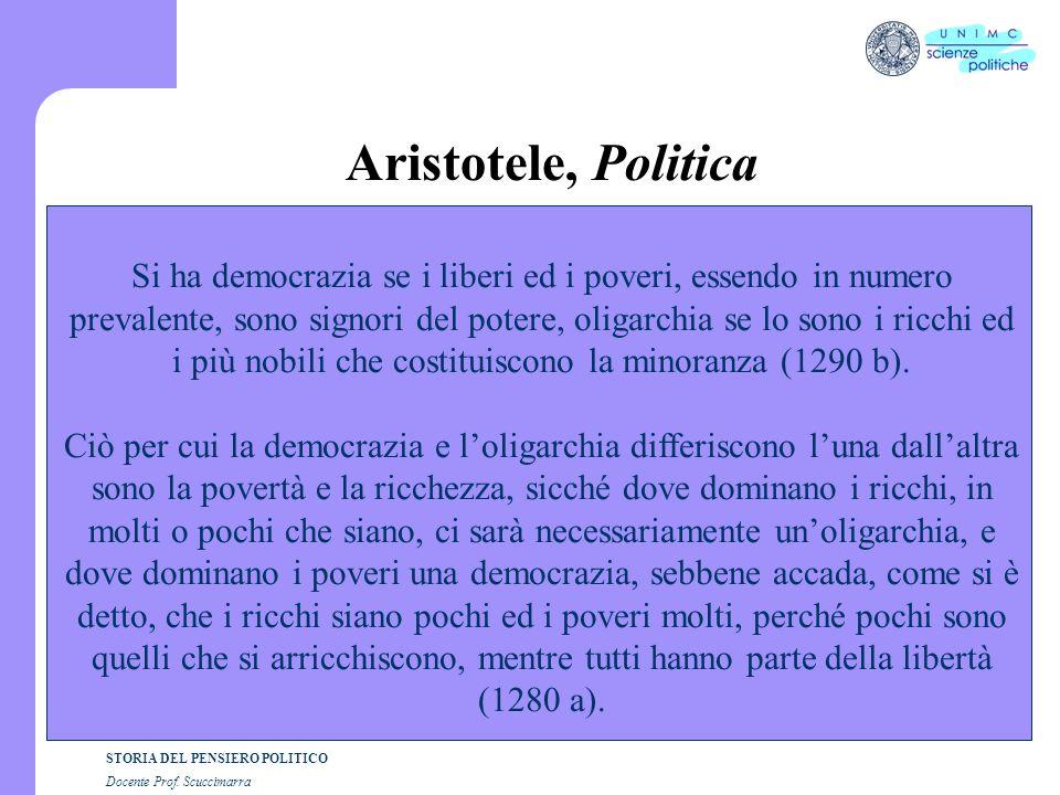 STORIA DEL PENSIERO POLITICO Docente Prof. Scuccimarra Aristotele, Politica Si ha democrazia se i liberi ed i poveri, essendo in numero prevalente, so