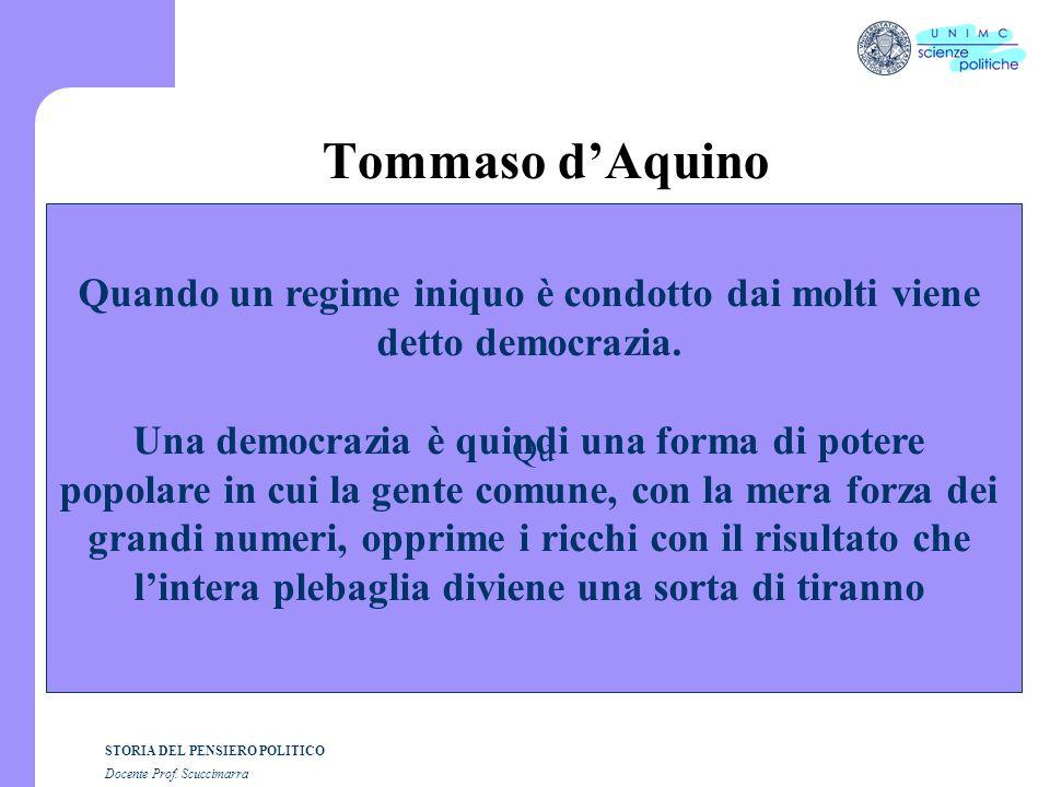 STORIA DEL PENSIERO POLITICO Docente Prof. Scuccimarra Tommaso dAquino Qu Quando un regime iniquo è condotto dai molti viene detto democrazia. Una dem