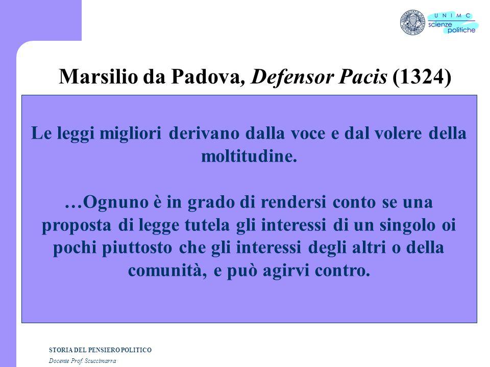 STORIA DEL PENSIERO POLITICO Docente Prof. Scuccimarra Marsilio da Padova, Defensor Pacis (1324) Le leggi migliori derivano dalla voce e dal volere de