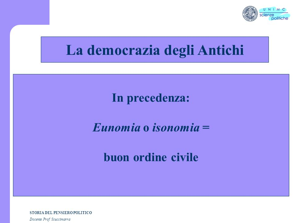 STORIA DEL PENSIERO POLITICO Docente Prof.Scuccimarra E.-J.