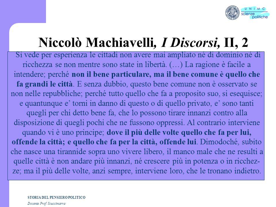 STORIA DEL PENSIERO POLITICO Docente Prof. Scuccimarra Niccolò Machiavelli, I Discorsi, II, 2 Si vede per esperienza le cittadi non avere mai ampliato