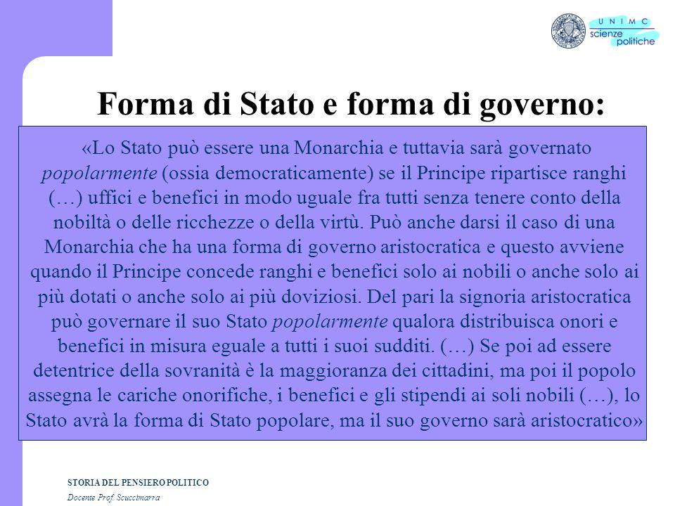STORIA DEL PENSIERO POLITICO Docente Prof. Scuccimarra Forma di Stato e forma di governo: «Lo Stato può essere una Monarchia e tuttavia sarà governato
