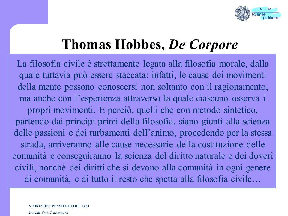 STORIA DEL PENSIERO POLITICO Docente Prof. Scuccimarra Thomas Hobbes, De Corpore La filosofia civile è strettamente legata alla filosofia morale, dall