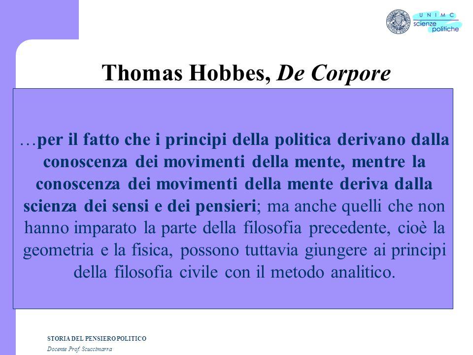 STORIA DEL PENSIERO POLITICO Docente Prof. Scuccimarra Thomas Hobbes, De Corpore …per il fatto che i principi della politica derivano dalla conoscenza
