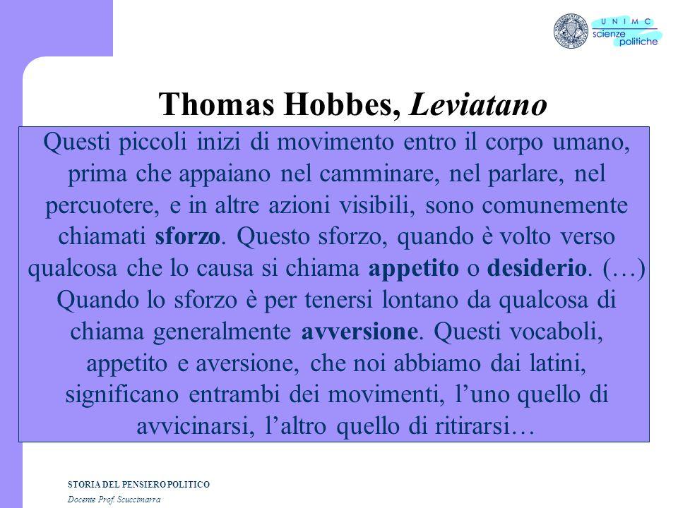 STORIA DEL PENSIERO POLITICO Docente Prof. Scuccimarra Thomas Hobbes, Leviatano Questi piccoli inizi di movimento entro il corpo umano, prima che appa