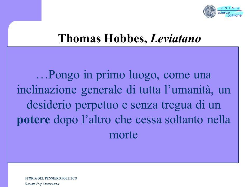 STORIA DEL PENSIERO POLITICO Docente Prof. Scuccimarra Thomas Hobbes, Leviatano …Pongo in primo luogo, come una inclinazione generale di tutta lumanit