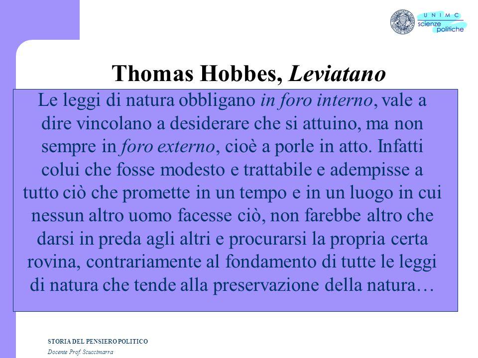 STORIA DEL PENSIERO POLITICO Docente Prof. Scuccimarra Thomas Hobbes, Leviatano Le leggi di natura obbligano in foro interno, vale a dire vincolano a