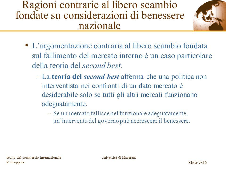 Università di Macerata Slide 9-16 Teoria del commercio internazionale M.Scoppola Largomentazione contraria al libero scambio fondata sul fallimento de