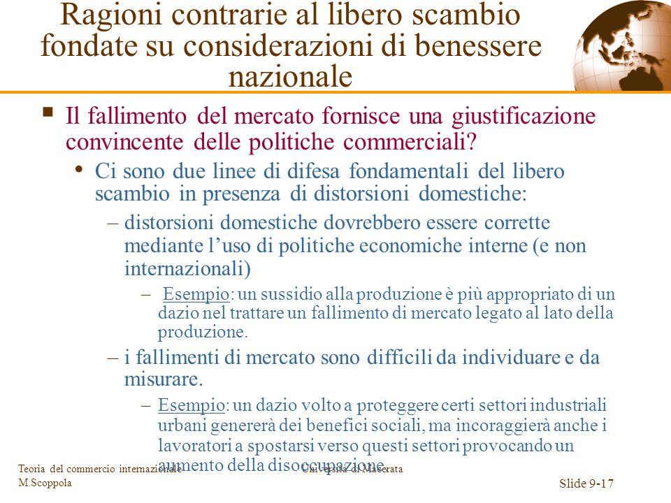 Università di Macerata Slide 9-17 Teoria del commercio internazionale M.Scoppola Il fallimento del mercato fornisce una giustificazione convincente de