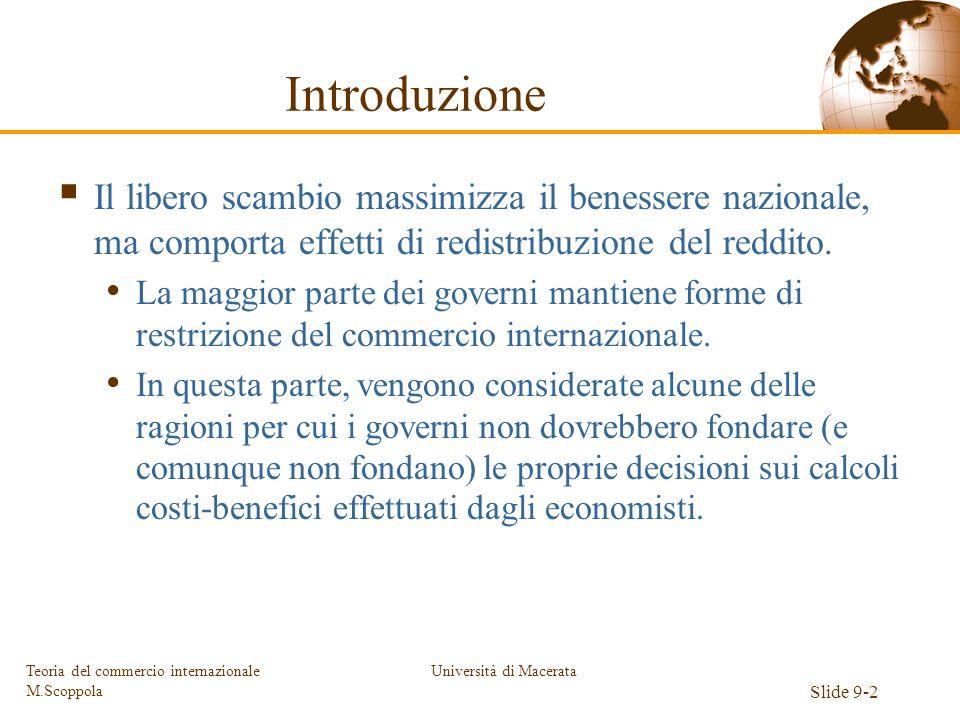 Università di Macerata Slide 9-2 Teoria del commercio internazionale M.Scoppola Introduzione Il libero scambio massimizza il benessere nazionale, ma c