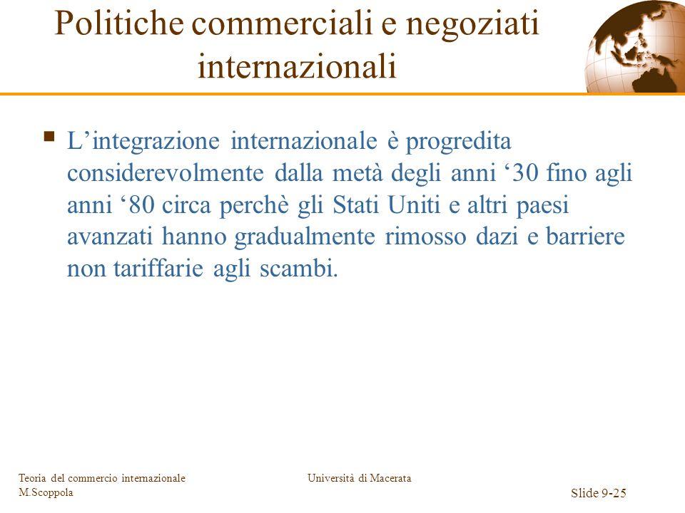 Università di Macerata Slide 9-25 Teoria del commercio internazionale M.Scoppola Politiche commerciali e negoziati internazionali Lintegrazione intern