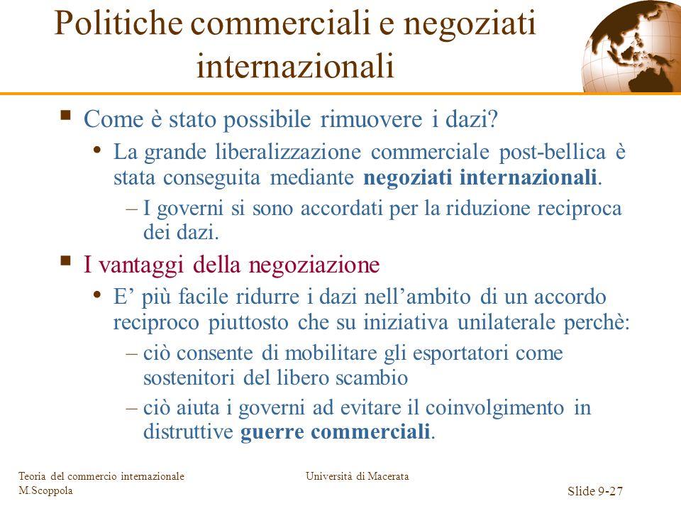 Università di Macerata Slide 9-27 Teoria del commercio internazionale M.Scoppola Come è stato possibile rimuovere i dazi? La grande liberalizzazione c