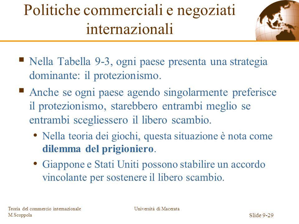 Università di Macerata Slide 9-29 Teoria del commercio internazionale M.Scoppola Nella Tabella 9-3, ogni paese presenta una strategia dominante: il pr