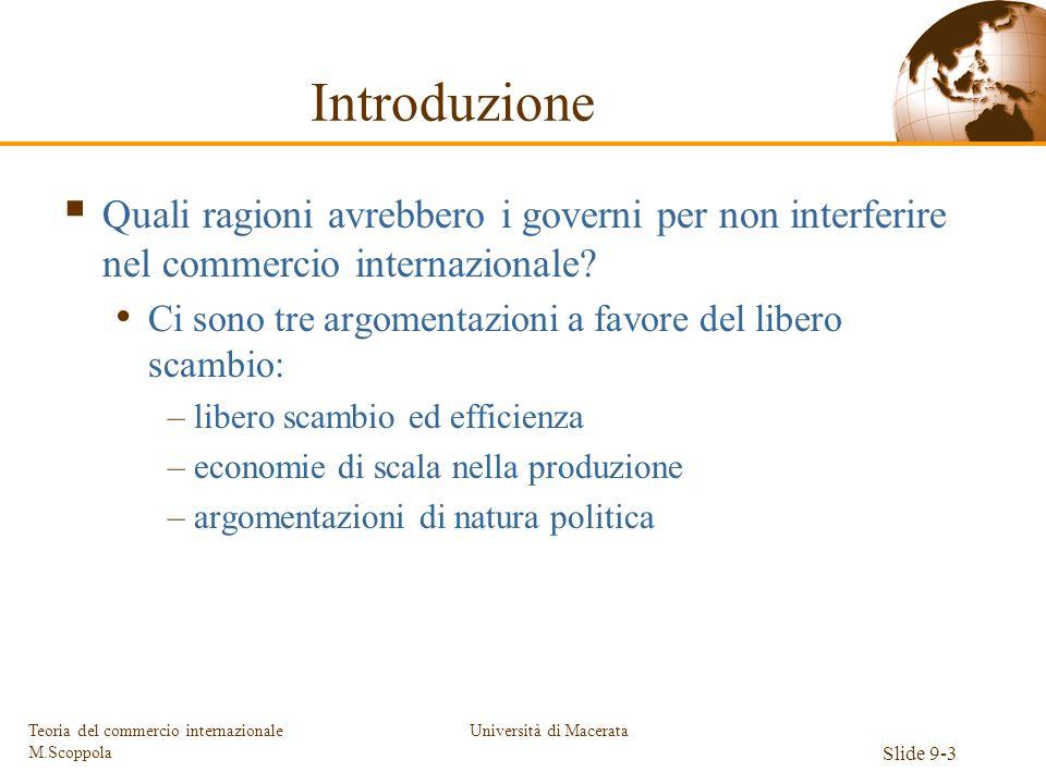 Università di Macerata Slide 9-3 Teoria del commercio internazionale M.Scoppola Introduzione Quali ragioni avrebbero i governi per non interferire nel