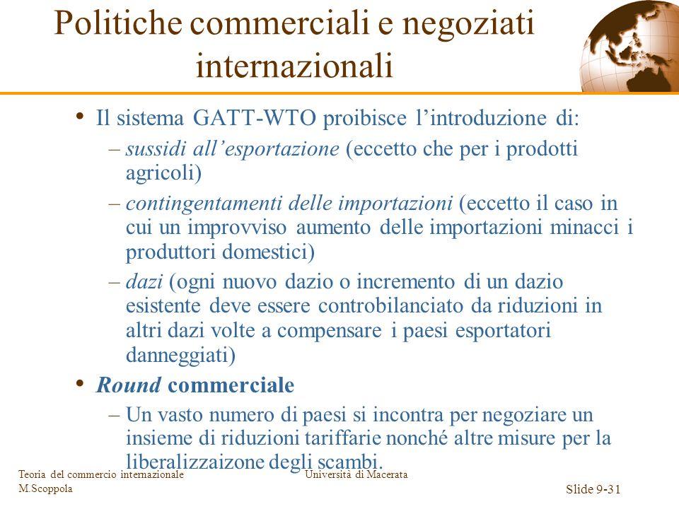 Università di Macerata Slide 9-31 Teoria del commercio internazionale M.Scoppola Il sistema GATT-WTO proibisce lintroduzione di: –sussidi allesportazi
