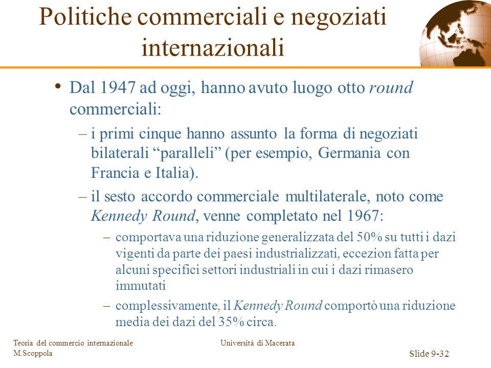 Università di Macerata Slide 9-32 Teoria del commercio internazionale M.Scoppola Dal 1947 ad oggi, hanno avuto luogo otto round commerciali: –i primi