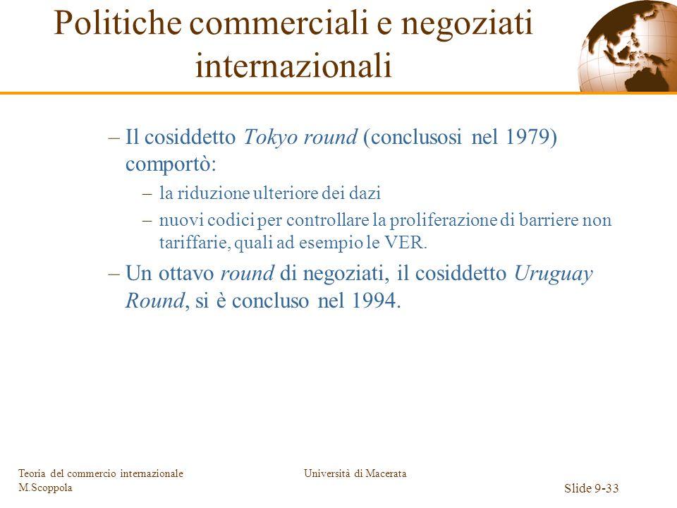 Università di Macerata Slide 9-33 Teoria del commercio internazionale M.Scoppola –Il cosiddetto Tokyo round (conclusosi nel 1979) comportò: –la riduzi
