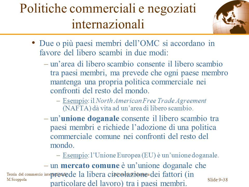 Università di Macerata Slide 9-38 Teoria del commercio internazionale M.Scoppola Due o più paesi membri dellOMC si accordano in favore del libero scam