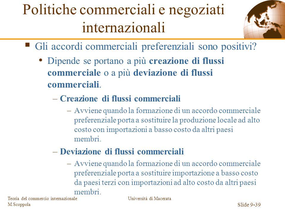 Università di Macerata Slide 9-39 Teoria del commercio internazionale M.Scoppola Gli accordi commerciali preferenziali sono positivi? Dipende se porta