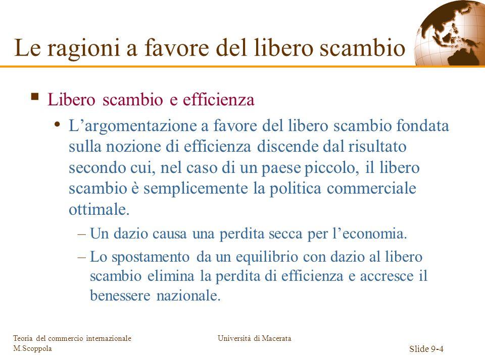 Università di Macerata Slide 9-4 Teoria del commercio internazionale M.Scoppola Libero scambio e efficienza Largomentazione a favore del libero scambi