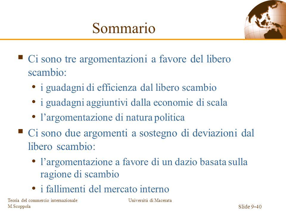 Università di Macerata Slide 9-40 Teoria del commercio internazionale M.Scoppola Sommario Ci sono tre argomentazioni a favore del libero scambio: i gu