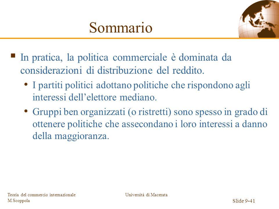 Università di Macerata Slide 9-41 Teoria del commercio internazionale M.Scoppola Sommario In pratica, la politica commerciale è dominata da consideraz