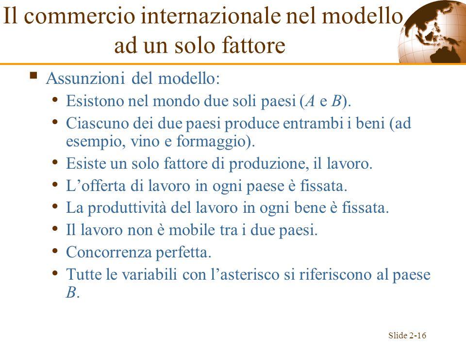 Slide 2-16 Il commercio internazionale nel modello ad un solo fattore Assunzioni del modello: Esistono nel mondo due soli paesi (A e B). Ciascuno dei