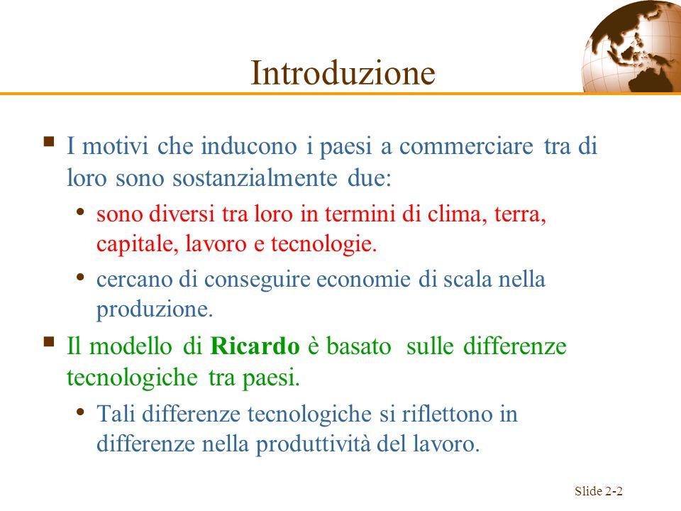 Slide 2-13 Prezzi relativi ed offerta Le particolari quantità dei due beni che vengono prodotte sono determinate dai prezzi.