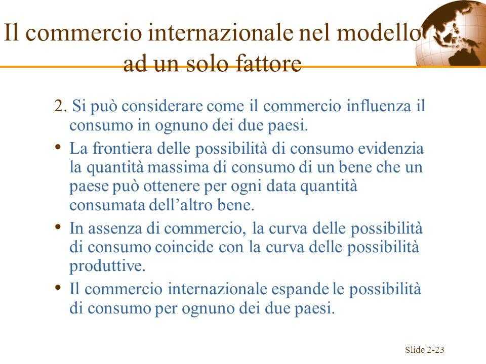 Slide 2-23 2. Si può considerare come il commercio influenza il consumo in ognuno dei due paesi. La frontiera delle possibilità di consumo evidenzia l