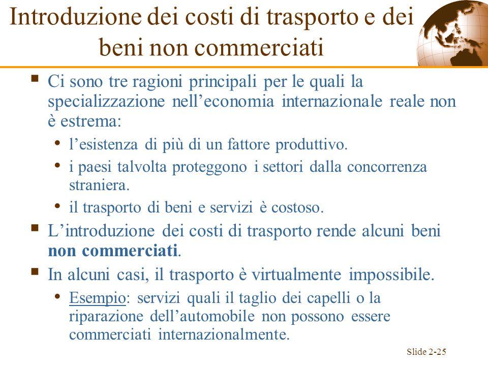 Slide 2-25 Introduzione dei costi di trasporto e dei beni non commerciati Ci sono tre ragioni principali per le quali la specializzazione nelleconomia
