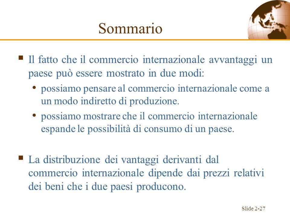 Slide 2-27 Il fatto che il commercio internazionale avvantaggi un paese può essere mostrato in due modi: possiamo pensare al commercio internazionale