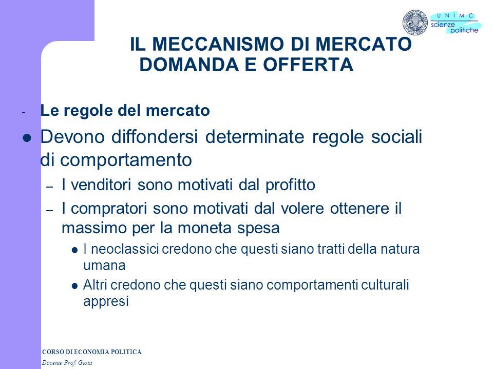 CORSO DI ECONOMIA POLITICA 2° parte Docente Prof. GIOIA I SEMESTRE A.A. 2007-2008