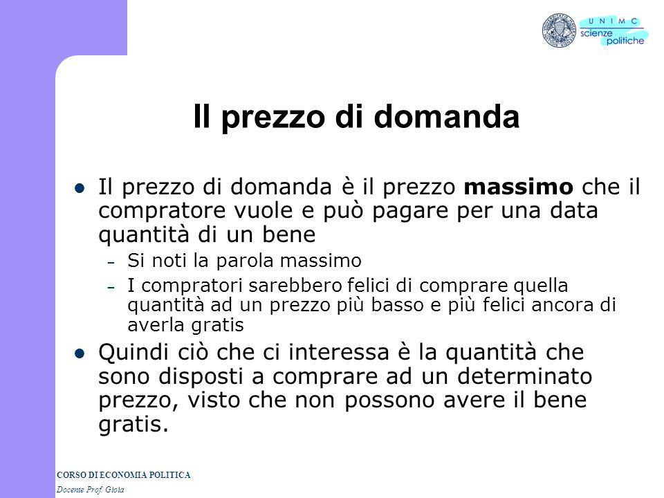 CORSO DI ECONOMIA POLITICA Docente Prof. Gioia Una definizione più precisa La domanda è la volontà e la capacità di comprare una serie di quantità di
