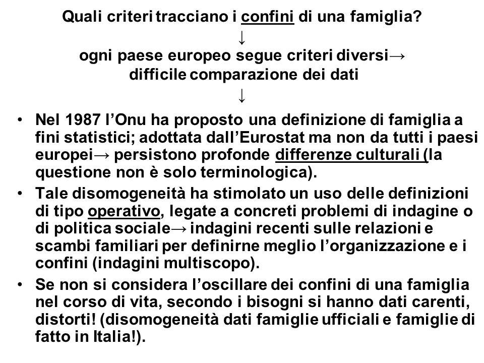 Quali criteri tracciano i confini di una famiglia? ogni paese europeo segue criteri diversi difficile comparazione dei dati Nel 1987 lOnu ha proposto