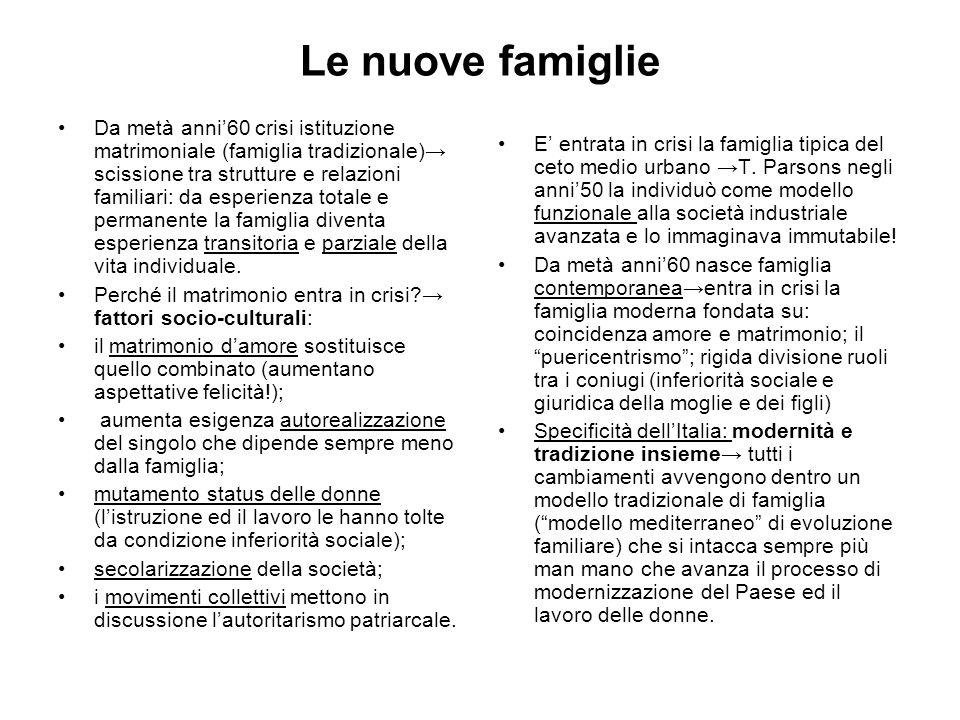 Le nuove famiglie Da metà anni60 crisi istituzione matrimoniale (famiglia tradizionale) scissione tra strutture e relazioni familiari: da esperienza t
