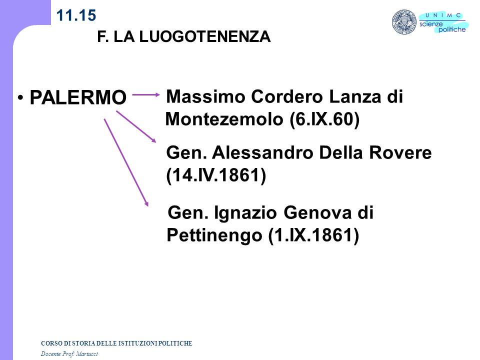 CORSO DI STORIA DELLE ISTITUZIONI POLITICHE Docente Prof. Martucci 11.15 F. LA LUOGOTENENZA PALERMO Massimo Cordero Lanza di Montezemolo (6.IX.60) Gen