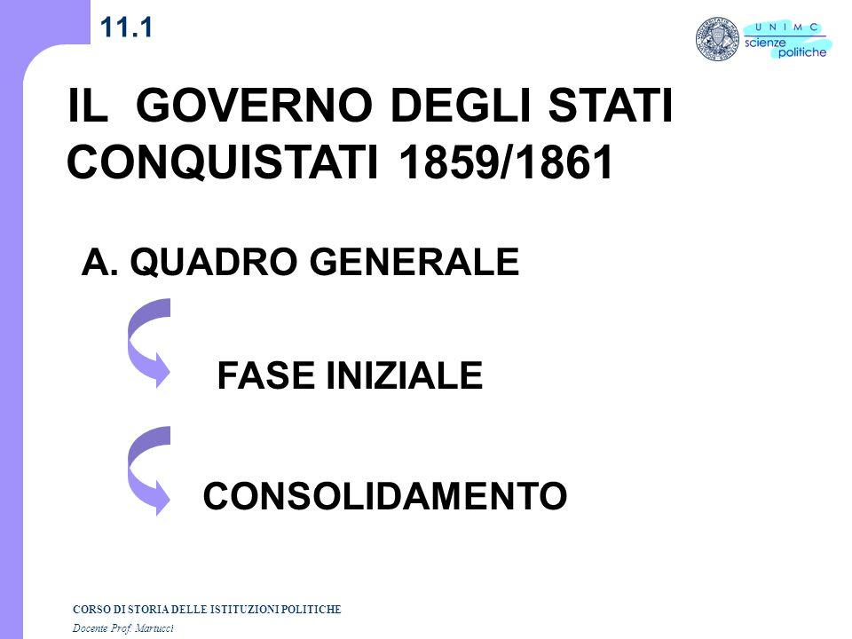 CORSO DI STORIA DELLE ISTITUZIONI POLITICHE Docente Prof. Martucci 11.1 IL GOVERNO DEGLI STATI CONQUISTATI 1859/1861 A. QUADRO GENERALE FASE INIZIALE