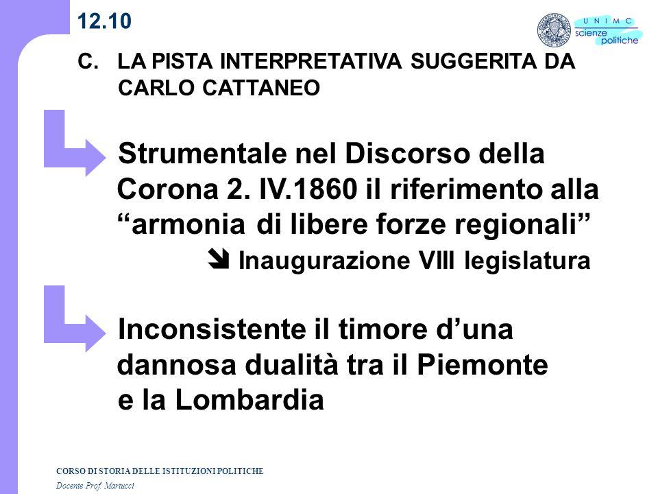 CORSO DI STORIA DELLE ISTITUZIONI POLITICHE Docente Prof. Martucci 12.10 C. LA PISTA INTERPRETATIVA SUGGERITA DA CARLO CATTANEO Strumentale nel Discor