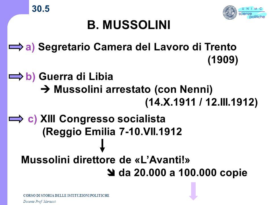 CORSO DI STORIA DELLE ISTITUZIONI POLITICHE Docente Prof. Martucci 30.5 B. MUSSOLINI a) Segretario Camera del Lavoro di Trento (1909) b) Guerra di Lib