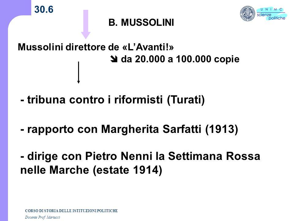 CORSO DI STORIA DELLE ISTITUZIONI POLITICHE Docente Prof. Martucci 30.6 B. MUSSOLINI - tribuna contro i riformisti (Turati) - rapporto con Margherita