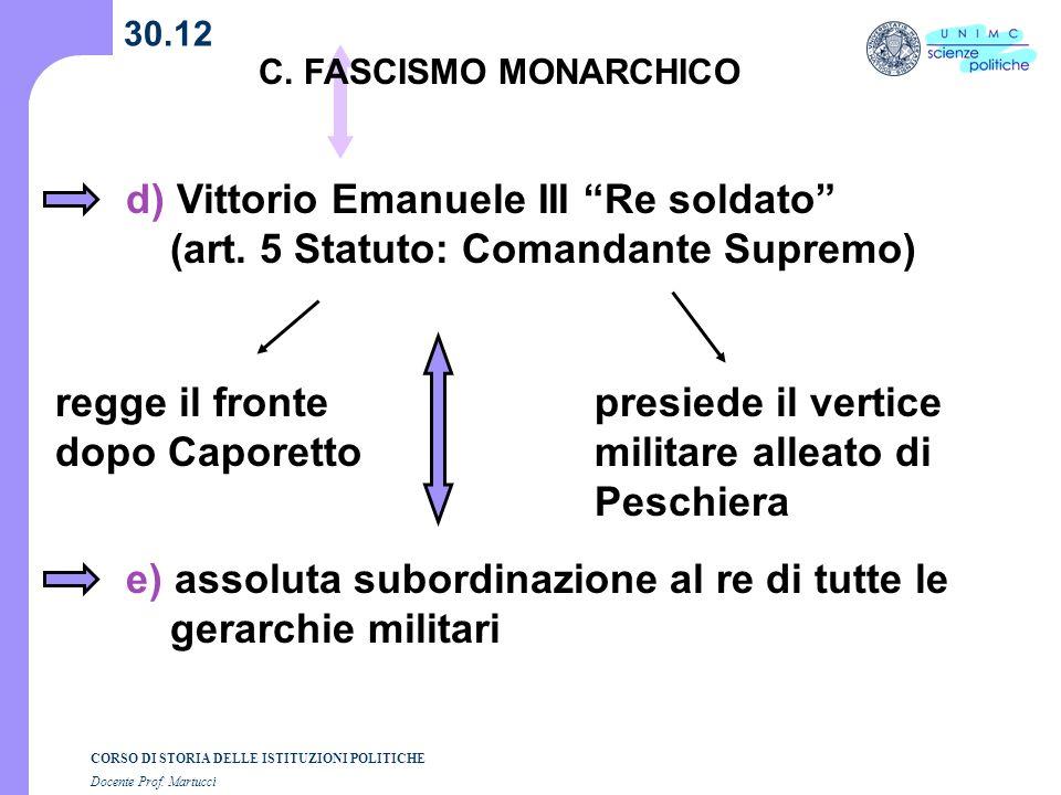 CORSO DI STORIA DELLE ISTITUZIONI POLITICHE Docente Prof. Martucci 30.12 C. FASCISMO MONARCHICO d) Vittorio Emanuele III Re soldato (art. 5 Statuto: C