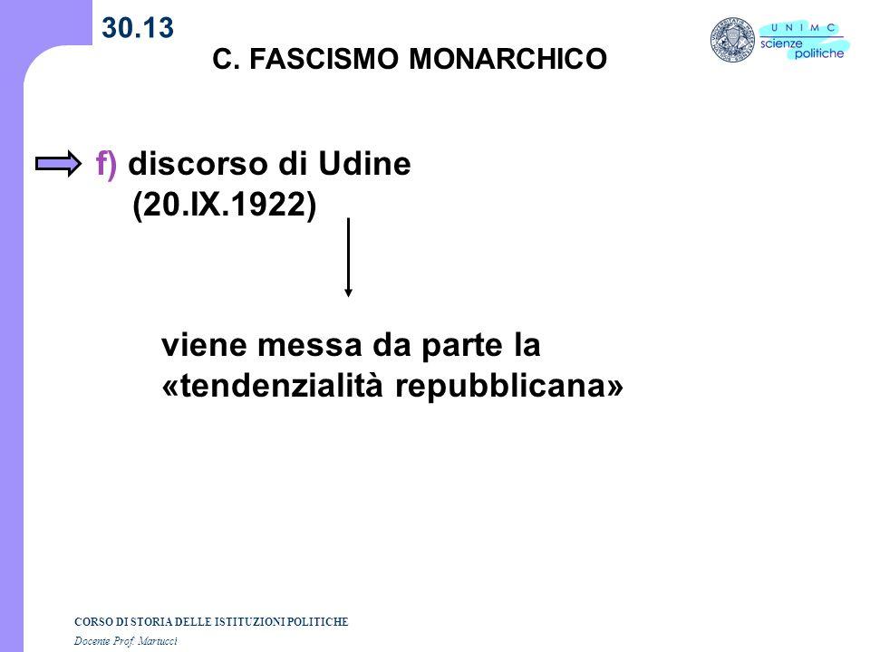 CORSO DI STORIA DELLE ISTITUZIONI POLITICHE Docente Prof. Martucci 30.13 C. FASCISMO MONARCHICO f) discorso di Udine (20.IX.1922) viene messa da parte