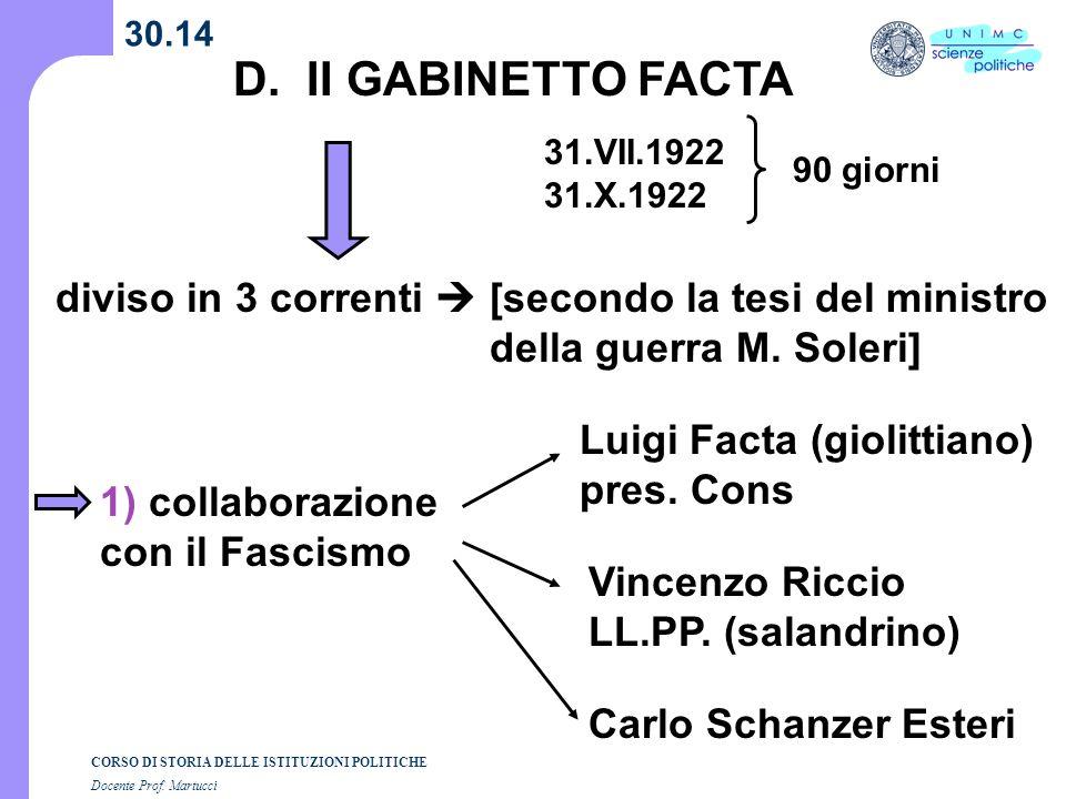 CORSO DI STORIA DELLE ISTITUZIONI POLITICHE Docente Prof. Martucci 30.14 D. II GABINETTO FACTA 31.VII.1922 31.X.1922 diviso in 3 correnti [secondo la
