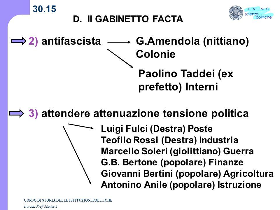 CORSO DI STORIA DELLE ISTITUZIONI POLITICHE Docente Prof. Martucci 30.15 D. II GABINETTO FACTA 2) antifascistaG.Amendola (nittiano) Colonie Paolino Ta