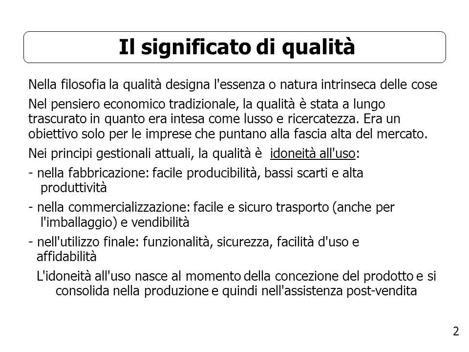 2 Il significato di qualità Nella filosofia la qualità designa l'essenza o natura intrinseca delle cose Nel pensiero economico tradizionale, la qualit