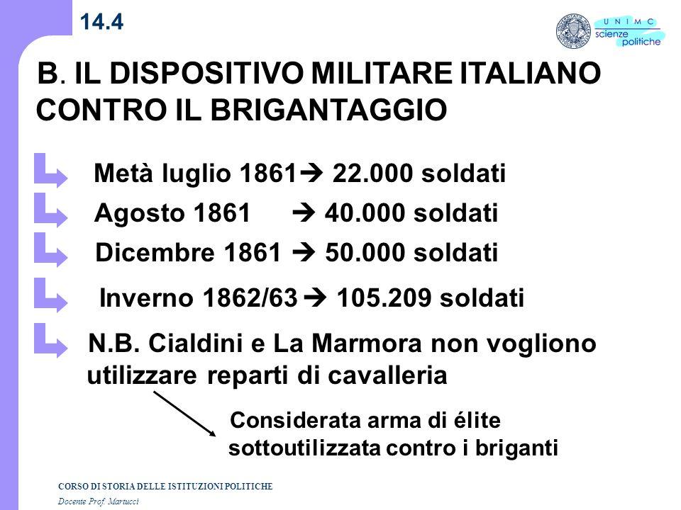 CORSO DI STORIA DELLE ISTITUZIONI POLITICHE Docente Prof. Martucci 14.4 B. IL DISPOSITIVO MILITARE ITALIANO CONTRO IL BRIGANTAGGIO Metà luglio 1861 22
