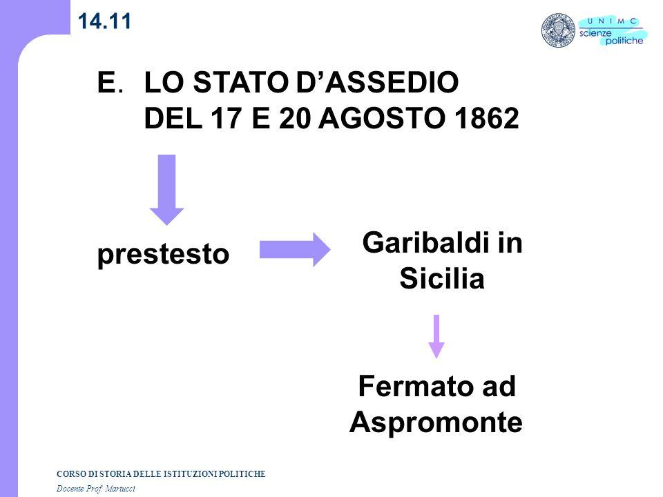 CORSO DI STORIA DELLE ISTITUZIONI POLITICHE Docente Prof. Martucci 14.11 E. LO STATO DASSEDIO DEL 17 E 20 AGOSTO 1862 Garibaldi in Sicilia prestesto F