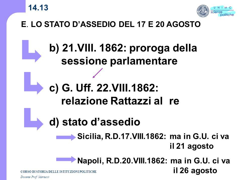 CORSO DI STORIA DELLE ISTITUZIONI POLITICHE Docente Prof. Martucci 14.13 E. LO STATO DASSEDIO DEL 17 E 20 AGOSTO b) 21.VIII. 1862: proroga della sessi